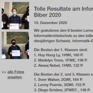 Tolle Resultate am Informatikwettbewerb Biber 2020